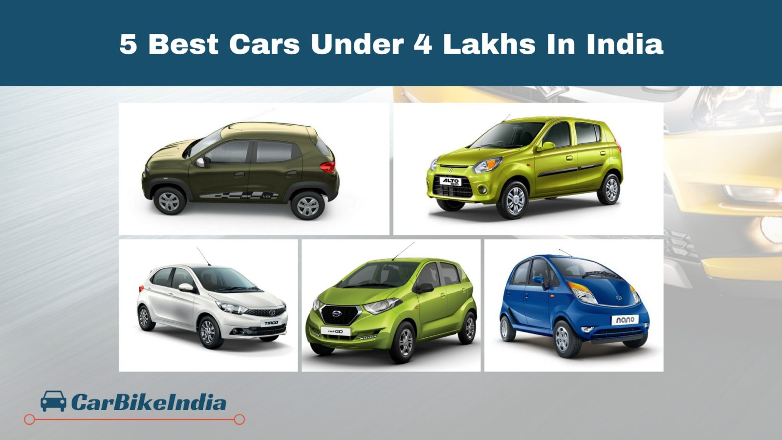 5 Best Cars Under 4 Lakhs In India 2018