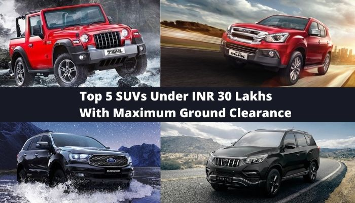 Top 5 SUVs Under INR 30 Lakhs With Maximum Ground Clearance