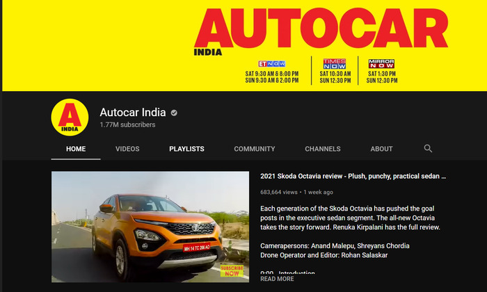 autocar youtube channel